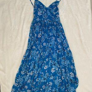Blue Life Dylan Backless midi dress blue floral